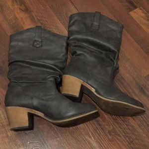 Dark grey slouch Faux Leather Boots